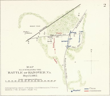 Map hand drawn Battle of Slash Church 1862